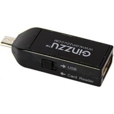 Устройство чтения/записи All in 1 Ginzzu GR-584UB SD/SDHC/microSD/microSDHC, MicroUSB OTG, черный