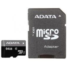 Карта памяти microSD Card64Gb A-Data microSDXC Premier Class 10 UHS-I + SD Adapter  (AUSDX64GUICL10-RA1)