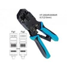 Клещи для обжима HT-2008R RJ-45/RJ-11/12 с фикс. + зачистка витой пары (TWT-CRI-468R)