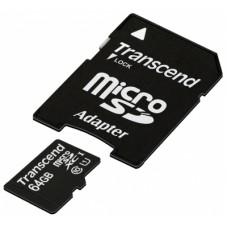 Карта памяти microSD Card64Gb Transcend SDXC Class 10 + адаптер (TS64GUSDU1)