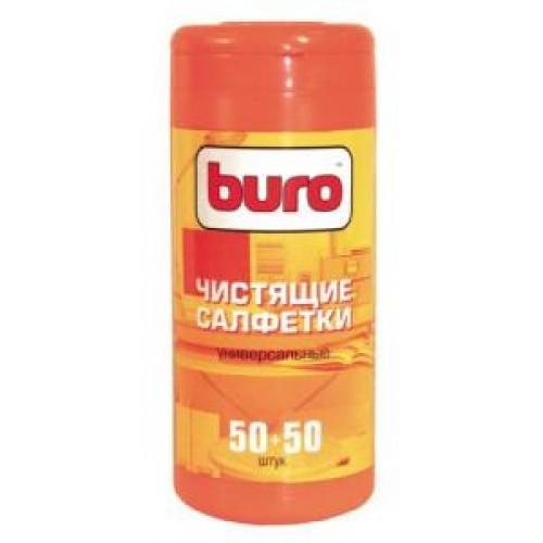Салфетки чистящие BURO BU-Tmix универсальные (100 шт в тубе, 50 влажных+50сухих)