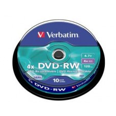 Диск DVD-RW Verbatim 4.7Gb, 4x, 10шт., Cake Box (43552)