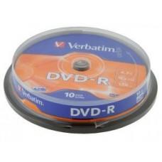 Диск DVD-R Verbatim 4,7Gb 16x, 10шт, Cake Box (43523)