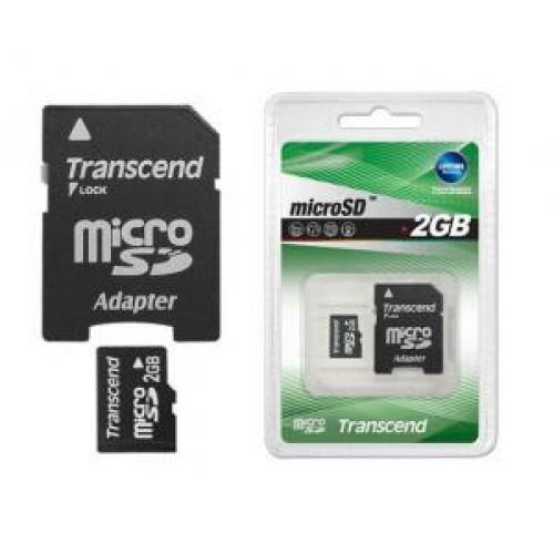 Карта памяти microSD Card 2Gb Transcend TransFlash + SD адаптер (TS2GUSD)