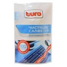 Салфетки чистящие влажные BURO BU-Zsurface, 100 шт для поверхностей мягкая упаковка 100шт влажных
