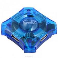 Концентратор USB 2.0 HUB CBR CH-127, 4-порта, USB 2.0, голуб.