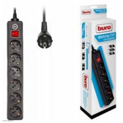 Фильтр сетевой BURO 600SH-1.8-B 1.8м (6 розеток) черный