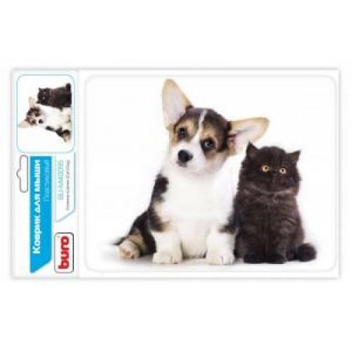 Коврик для мыши BURO BU-M40095 рисунок/котенок и щенок 230x180x3mm