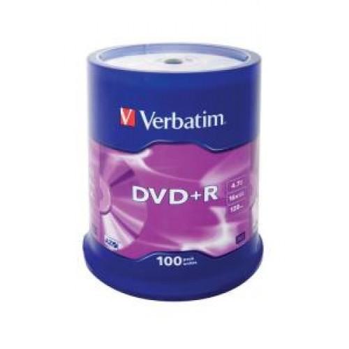 Диск DVD+R Verbatim 4,7GB 16x, 100шт., Cake Box (43551)