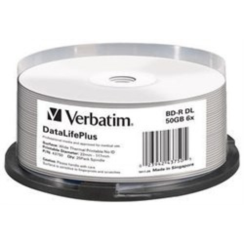 Диск Verbatim BD-R 50ГБ, 6x, 25шт., Double Layer Printable (43750)