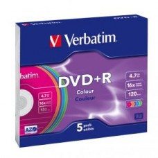 Диск DVD+R Verbatim 4,7GB 16x, 5шт., Slim case Color(43556)