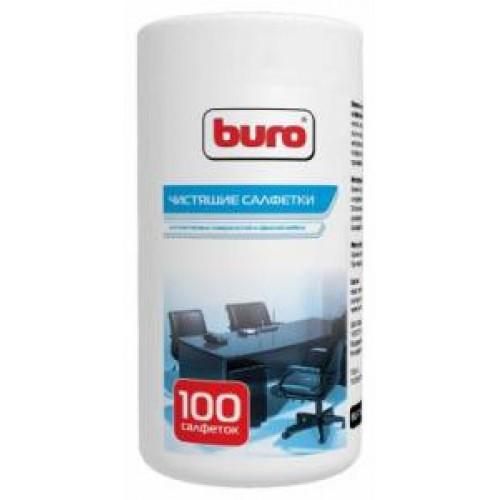 Салфетки чистящие влажные BURO BU-Tsurl, 100 шт. для пластиковых поверхностей и офисной мебели туба