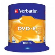 Диск DVD-R Verbatim 4,7Gb 16x, 100шт, Cake Box (43549)