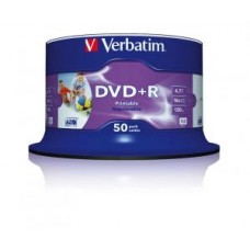 Диск DVD+R Verbatim 4,7GB 16x, 50шт., Cake Box InkJet Printable (43512)
