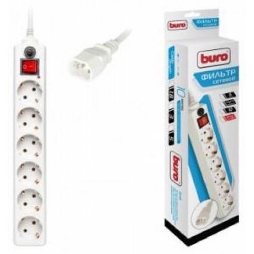 Фильтр сетевой BURO вилка для подкл. к ИБП 600SH-1.8-UPS-W 1.8м (6 розеток) белый