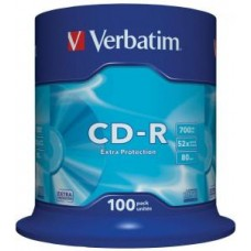 Диск CD-R Verbatim DL 700Mb 52x,  100шт., Cake Box (43411)