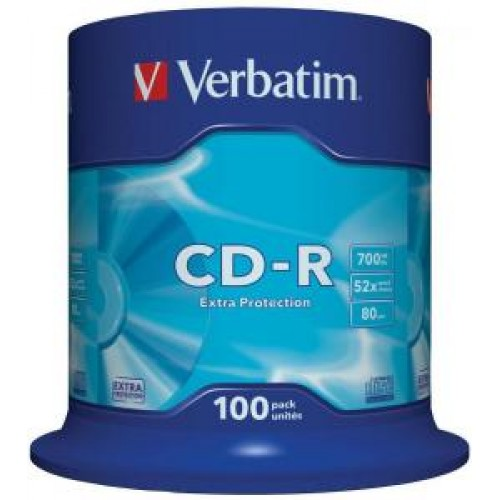 Диск CD-R Verbatim DL 700Mb 52x,  100шт., Cake Box (43411)