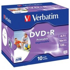 Диск DVD+R Verbatim 4,7GB 16x, 10шт., Jewel Case, Printable (43508)