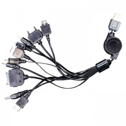 Адаптер USB(Am) Gembird A-USBTO11B для зарядки мобильных телефонов, iPhone и iPad, с рулеткой