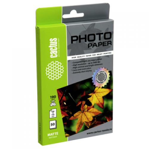 Фотобумага Cactus CS-MA619050 матовая, 10x15, 190 г/м2, 50 листов
