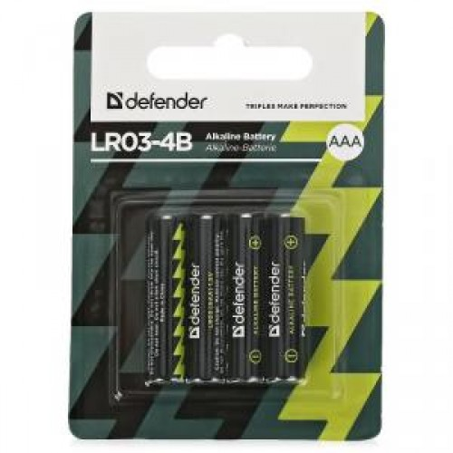 Батарейки алкалиновые Defender LR03-4F (AAA)