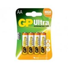 Батарейки алкалиновые GP Ultra Alkaline 15AU LR6 4шт (AA)
