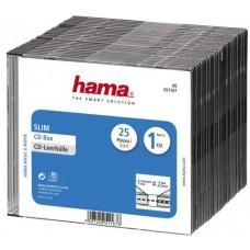 Коробка для DVD Slim, 25 шт., пластик, черный, Hama (H-51182)