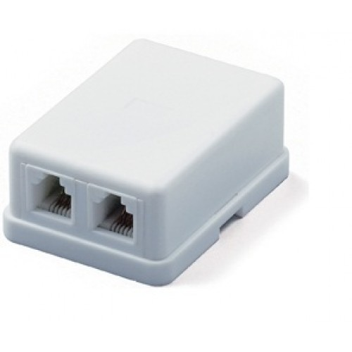 Hyperline SB-2-6P4C-C2-WH Розетка телефонная RJ-12(6P4C), двойная, внешняя, белая (SB-2-6P4C-C2-WH)