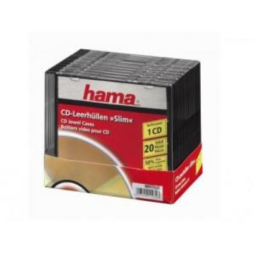 Коробка для CD/DVD Slim, 20 шт., прозрачный/черный, Hama (H-11432)
