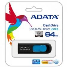 Накопитель USB 3.0 Flash Drive 64Gb A-DATA UV128 black/blue (AUV128-64G-RBE)