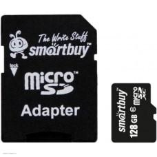 Карта памяти microSDXC 128GbSmartBuy Class 10 + адаптер (SB128GBSDCL10-01)