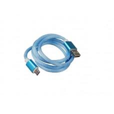 Кабель USB AM-microB 5pin, 1.0m Cadena WS018, нейлон.оплетка, синий