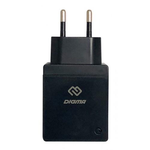 Зарядное устройство Digma DGWC-1U-2.1A-BK, для USB устройств, 2.1А, черн.