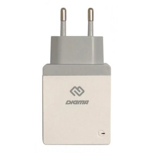 Зарядное устройство Digma DGWC-1U-2.1A-WG, для USB устройств, 2.1А, белый.