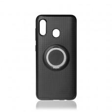 Чехол DF  с кольцом-держателем для Samsung Galaxy A40 (sTRing-03) black