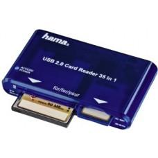 Картридер внешний Hama H-55348 синий USB2.0