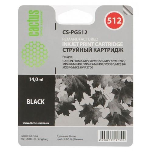 Картридж-чернильница PG-512 (Cactus CS-PG512) Canon Pixma MP240/MP250/MP260/MP480 Black 15 ml