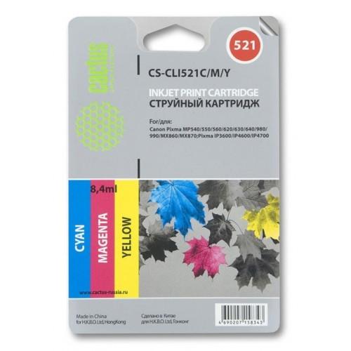Картридж-чернильница CLI-521C/M/Y (Cactus CS-CLI521C/M/Y) Canon Pixma MP540/MP550 3-color 3x8.2ml