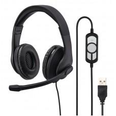 Наушники с микрофоном Hama HS-USB300 черный 2м оголовье
