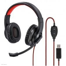 Наушники с микрофоном Hama HS-USB400 черный/красный 2м накладные оголовье