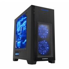 Корпус ATX GameMax H603-2U3, с окном, черный, синяя подсветка, без БП, USB3.0 на передней панели