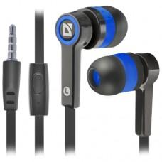 Наушники Defender Pulse 420 черный + синий, вставки [63423]