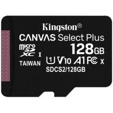 Флеш карта microSDHC 128Gb Class10 Kingston SDCS2/128GBSP CanvSelect Plus w/o adapter