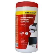 Салфетки Silwerhof 671215 для пластиковых поверхностей и офисной мебели туба 100шт влажных