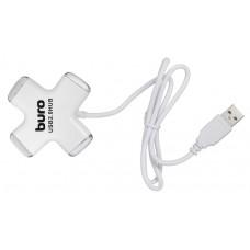 Разветвитель USB 2.0 Buro BU-HUB4-0.5-U2.0-Сross 4порт. белый