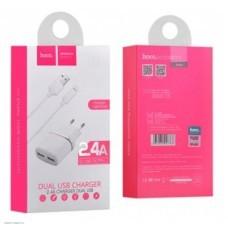 Сетевое зарядное устройство HOCO C12 2USB 2.4A + кабель Micro USB белый