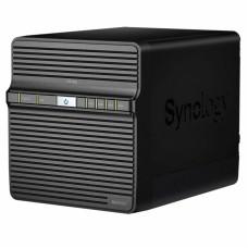 Система хранения данных Synology QC1,4GhzCPU/1GB/RAID0,1,5,6,10/up to 4HDDs SATA(3,5' ')/2xUSB3.0/1GigEth/iSCSI/2xIPcam(upto 16)/1xPS/2YW repl DS418j
