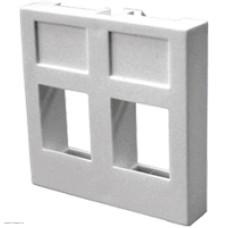 Вставка Lanmaster 45х45 на 2 кейстоуна без шторок, белая