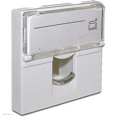 Вставка Lanmaster 45x45 на 1 модуль, со шторкой и увеличенным окном маркировки, белая