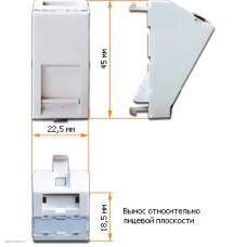 Вставка Lanmaster 22.5x45 на 1 кейстоун, угловая, со шторкой, маркировкой и иконками, белая